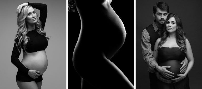 Maternity collage of black and white photographs
